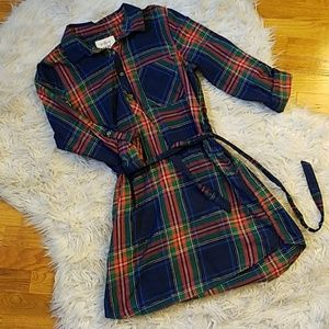 SO PLAID SHIRT DRESS W POCKETS, BELT, & SHIMMER